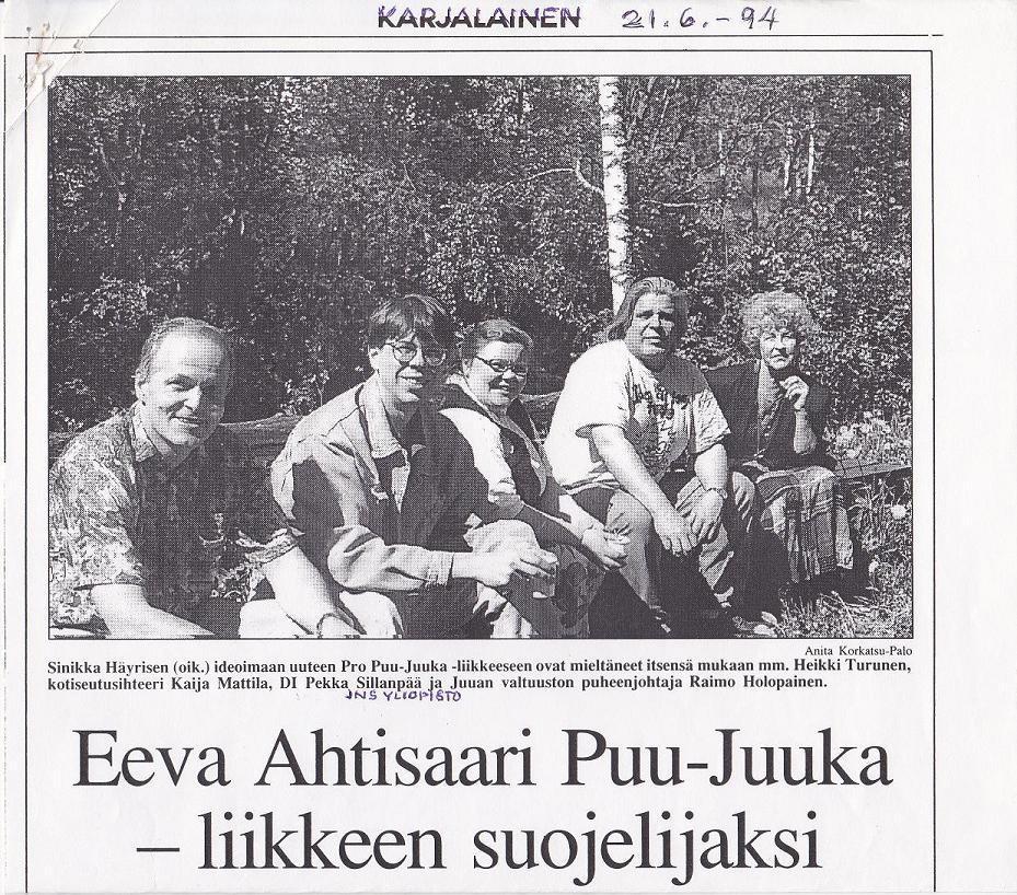 Eeva Ahtisaari prp Puu-Juuka -liikkeen suojelijaksi 1994