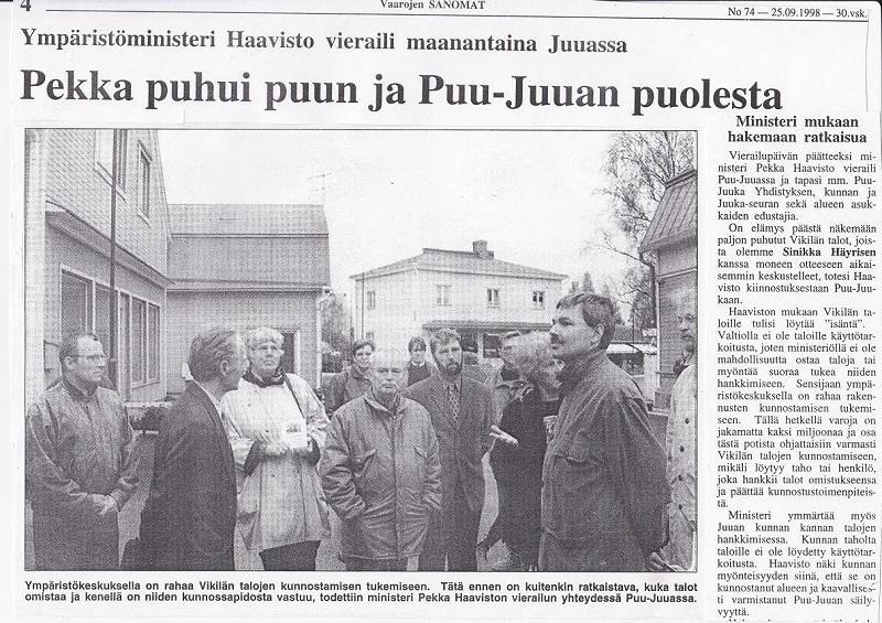 Ministeri Haavisto Puu-Juuassa 25.9.1998