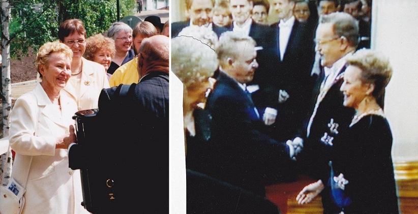 Pro Puu-Juuka liikkeen suojelija Eeva Ahtisaari kävi 1998 tutustumassa Puu-Juuan 'uuden ajan alkuun', kunnostettuihin teihin, Myllymuseoon, uuteen kävelysiltaan ym. Sinikka Häyrinen kävi kutsuttuna yksin Linnan Itsenäisyyspäivän vastaanotolla.